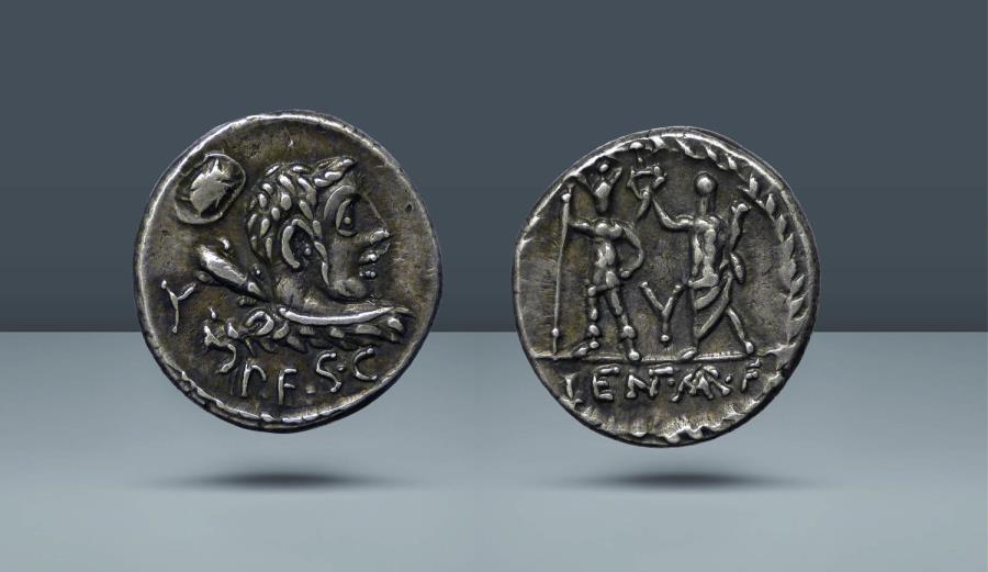 Ancient Coins - ROMAN REPUBLIC. P. Cornelius Lentulus Marcellinus. Rome, 100 BC. AR Denarius,. Ex Cahn, 17 July 1933, lot 1123. From the Haeberlin Collection
