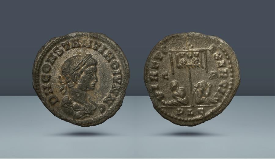 Ancient Coins - Constantine II, as Caesar. Lugdunum, c. 321 AD. AE Nummus. Rare Type