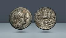 Ancient Coins - ROMAN REPUBLIC. L. Caecilius Metellus Diadematus. Rome. c. 128 BC. AR Denarius