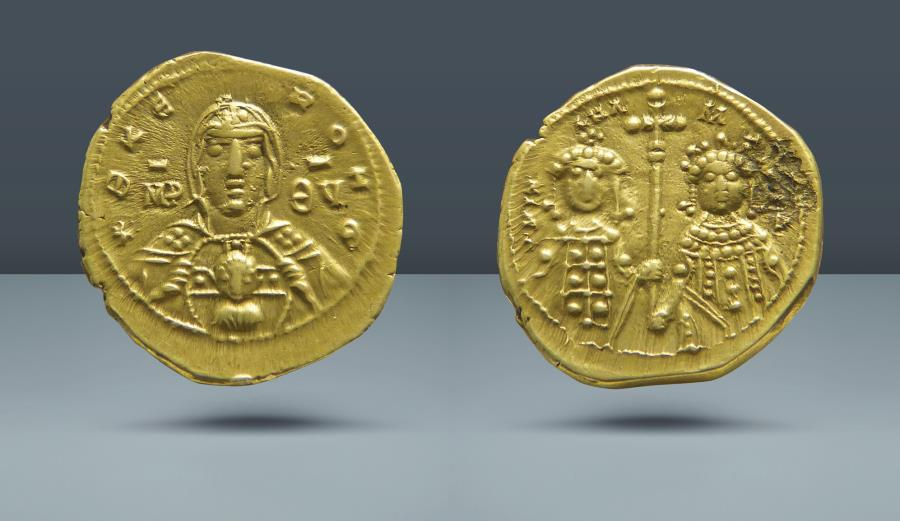 Ancient Coins - Michael VII, Ducas with Maria, 1071-1078 AD. AV Tetarteron. Ex Garrett Collection. Auction Bank Leu/NFA. Zurich, March 1985. Lot 526. Ex JWG Raymond. 30 Dec 1922