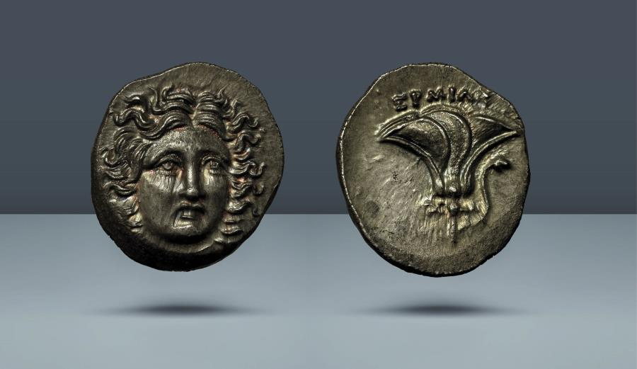 Ancient Coins - KINGS OF MACEDON. Temp Perseus. Uncertain mint in Thessaly; Hermias, magistrate. 179-168 BC. c.171/0 BC. AR Drachm