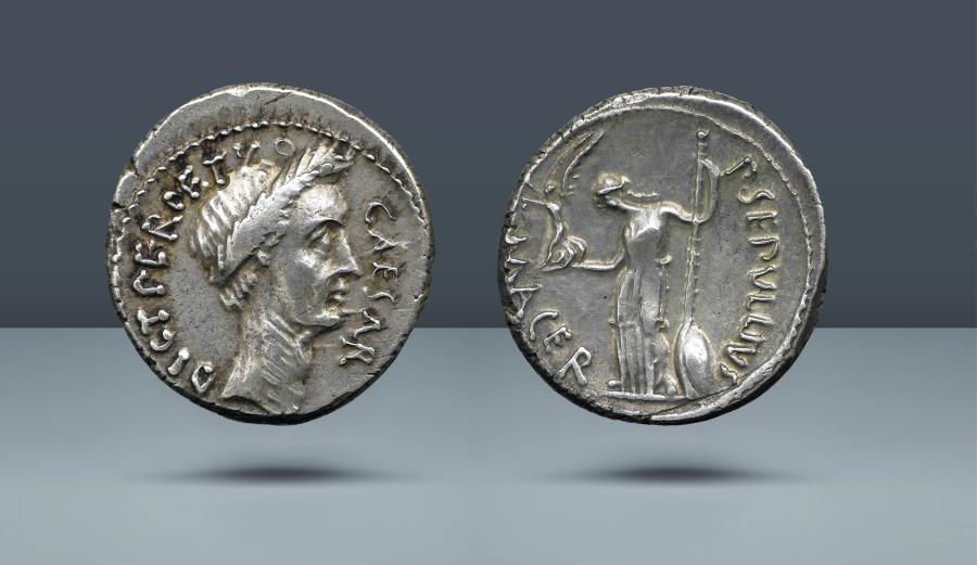 Ancient Coins - ROMAN REPUBLIC. Julius Caesar, P. Sepullius Macer, moneyer. Rome, February-March 44 BC. Ex Niggeler Collection and Alföldi Plate Coin