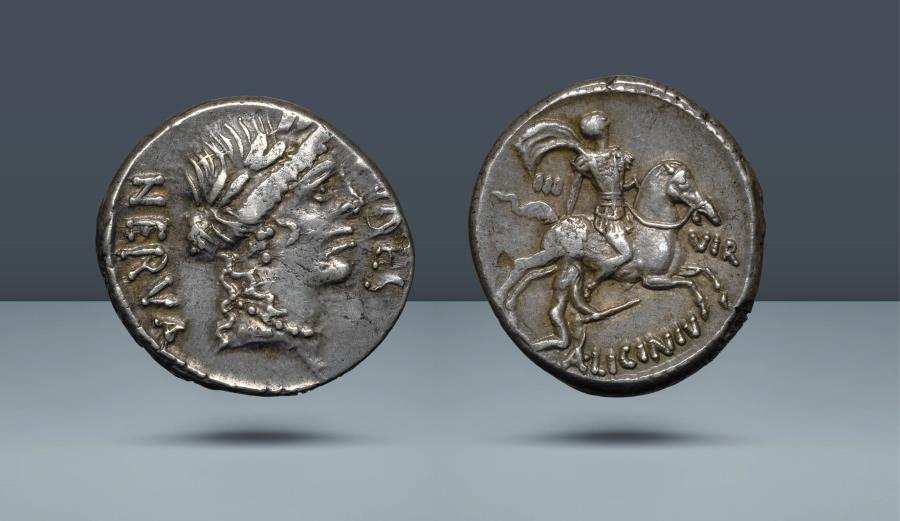 Ancient Coins - ROMAN REPUBLIC. Aulus Licinius Nerva. Rome, 47 BC. AR Denarius. Ex Auctiones AG 7 June 1977, lot 607. Ex Leo Benz Collection, Lanz, 23 Nov 1998, lot 432