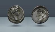 Ancient Coins - Octavian. 27 BC – 14 AD. Lugdunum. AR Denarius Brockage. From the E.E. Clain Stefanelli collection