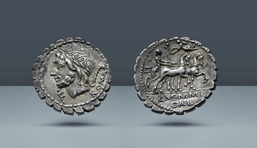 Ancient Coins - ROMAN REPUBLIC. L. Memmius Galeria. Rome, 106 BC. AR Serate Denarius. Ex Roma 8, 28 September 2014, lot 850