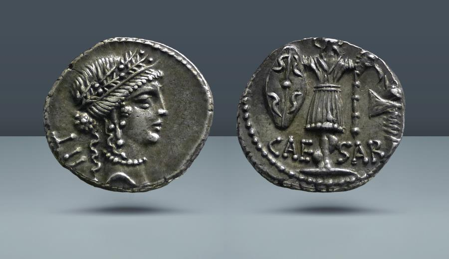 Ancient Coins - IMPERATORIAL. Julius Caesar. Illyrian mint, possibly Apollonia, 48 BC. AR Denarius. From the E. E. Clain-Stefanelli Collection, NAC 92 (Part 1), Zürich 2016, lot 381