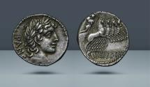 Ancient Coins - ROMAN REPUBLIC.C. Vibius C.f. Pansa. 90 BC. AR Denarius. Ex Spink Numismatic Circular LXVI, 1958, 4245 and CNG sale 90, 2012, 1318. From the Bruce R. Brace collection.
