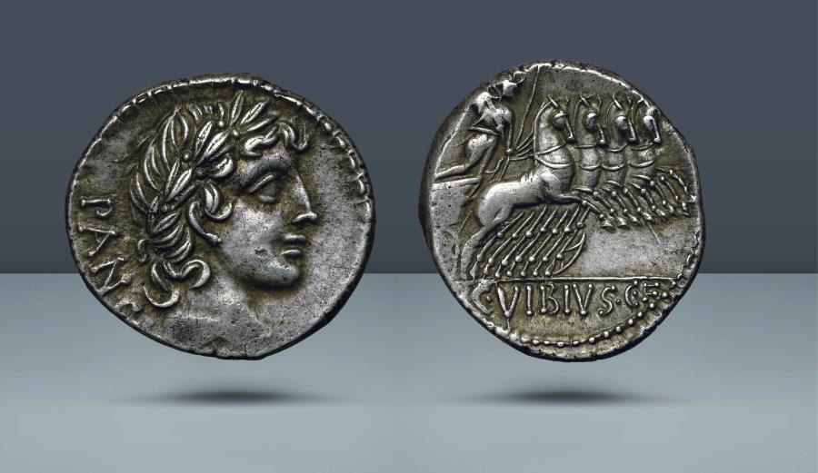Ancient Coins - ROMAN REPUBLIC.C. Vibius C.f. Pansa. 90 BC. AR Denarius. Ex Spink Numismatic Circular LXVI, 1958, 4245 and CNG sale 90, 2012, 1318. From the Bruce R. Brace collection.