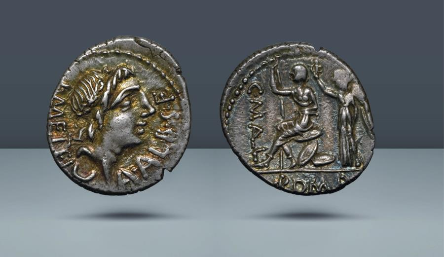 Ancient Coins - ROMAN REPUBLIC. C. MALL, A.ALBINVS S.F., L. METEL. Rome, 96 BC. AR Denarius. Ex Dr. Busso Peus 6 May 1980, lot 289. Ex Leo Benz Collection, Lanz, 23 Nov 1998, lot 196