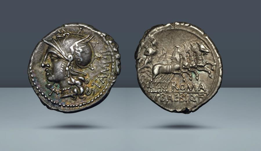 Ancient Coins - ROMAN REPUBLIC. M. Baebius Q.f. Tampilus. 137 BC. AR Denarius. Purchased privately from Spink, 2 August 1972, for £16.