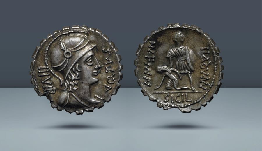 Ancient Coins - ROMAN REPUBLIC. MN Aquillia MN.F MN.N. Rome, 71 BC. AR Denarius