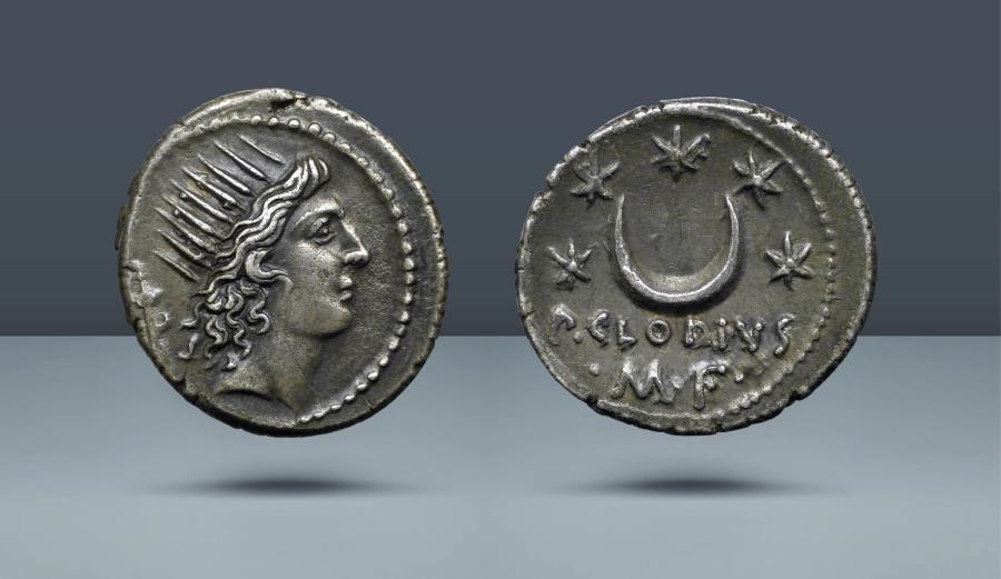 Ancient Coins - ROMAN REPUBLIC. P. Clodius M.f. Turrinus. Rome, c. 42 BC. AR Denarius. Comes with export license from Italy