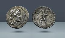 Ancient Coins - ROMAN REPUBLIC. Julius Caesar. Died 42 BC. Military mint traveling in Northern Africa, c. 47-46 BC. AR Denarius