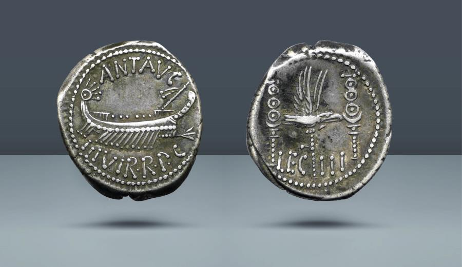 Ancient Coins - ROMAN REPUBLIC. The Triumvirs. Mark Antony. Legionary issue. Patrae(?) mint, c. 32-31 BC. AR Denarius. Comes with export license from Italy