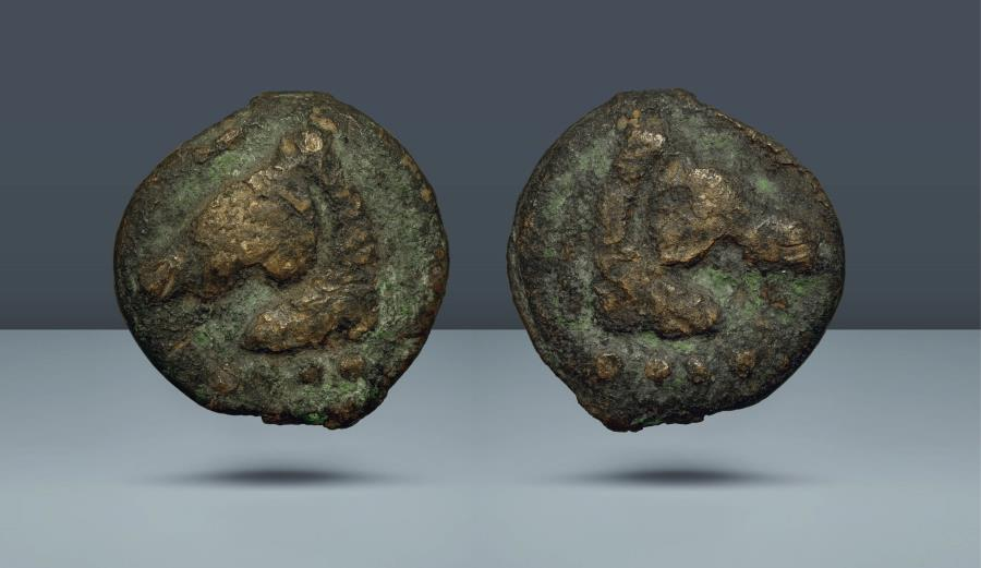 Ancient Coins - Aes Grave Triens. Anonymous. Rome, c. 275-270 BC. AE Triens. Ex Eberhard Link Collection. Purchased by collector 22 Sept 1964