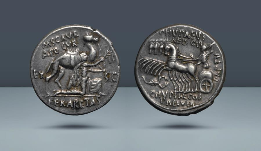 Ancient Coins - ROMAN REPUBLIC. M. Aemilius Scaurus and P. Plautius Hypsaeus. Rome, 58 BC. AR Denarius. Ex Lanz 13 April 1981, lot 416. Ex Leo Benz Collection, Lanz, 23 Nov 1998, lot 129