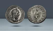 Ancient Coins - Macrinus. Sept 217 - Feb 218. Rome. AR Denarius. Ex Hauck & Aufhäuser 17, München 2003, lot 450. Ex Gerhard Hirsch 14, München 1957, lot 709.