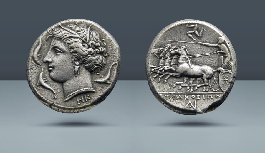 Ancient Coins - SICILY, Syracuse. Agathokles. 317-289 BC. Syracuse, c. 317-310 BC. AR Tetradrachm