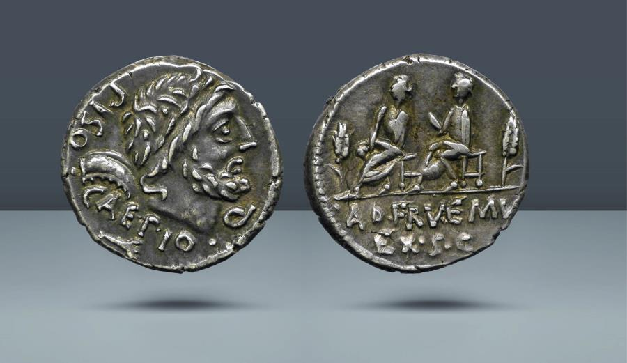 Ancient Coins - ROMAN REPUBLIC. L. Calpurnius Piso and Q. Servilius . Rome, c. 100 BC. AR Denarius. Comes with export license from Italy
