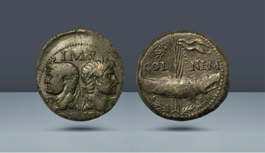 Ancient Coins - Gallia. Colonia Nemausus. Augustus. 27 BC - 14 AD. Nemausus, c. 10-14 AD. AE As