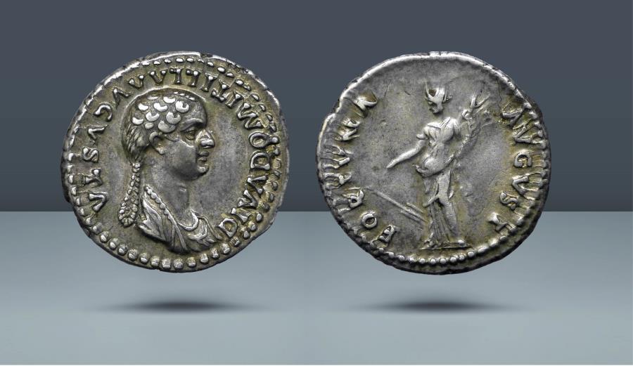 Ancient Coins - Domitilla, Daughter of Vespasian. Rome, 82-3 AD. AR Denarius. Ex NAC 40, 16 May 2007, lot 684