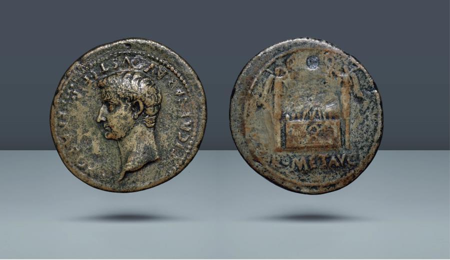 Ancient Coins - Tiberius caesar, Paduan Hybrid. c. 9-14 AD. Æ Sesterius. Ex NAC Auction 92, 24 May 2016, lot 2052