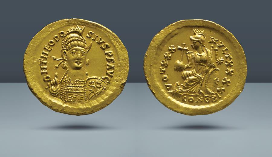 Ancient Coins - Theodosius II. 402-450 AD. Constantinople. AV Solidus