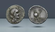 Ancient Coins - ROMAN REPUBLIC. C. Cassius Longinus and L. Cornelius Lentulus. Military mint traveling with the army of Brutus and Cassius.  Comes with export license from Italy