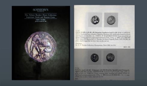 Ancient Coins - The Civil Wars. Southern Gaul (?). 68-69 AD. AR Denarius. Ex Kampmann Maison Platt 9-10 March 1982, Nicolas, 214 and Sotheby's 19-20 June 1991, Hunt IV, 707 sales