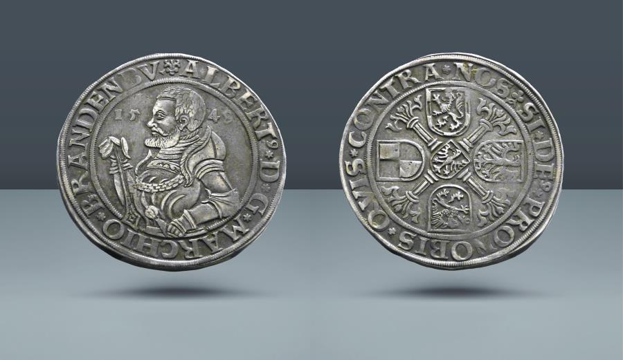 World Coins - GERMANY, Brandenburg-Franconia, Albert the Younger of Bayreuth, 1527-1554. 1548. AR Taler