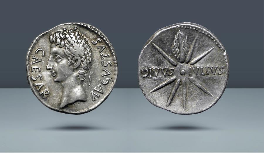 "Ancient Coins - Octavian as Augustus. ""DIVVS IVLIVS"" Comet Issues. 27 BC - 14 AD. Spain, Caesaraugusta, 19-18 BC. AR Denarius"