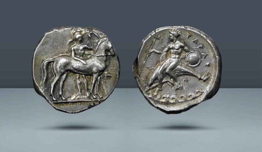 Ancient Coins - CALABRIA, Tarentum. c. 355-340 BC. AR Stater. Ex Münzen und Medaillen Basel FPL 552 (1992)