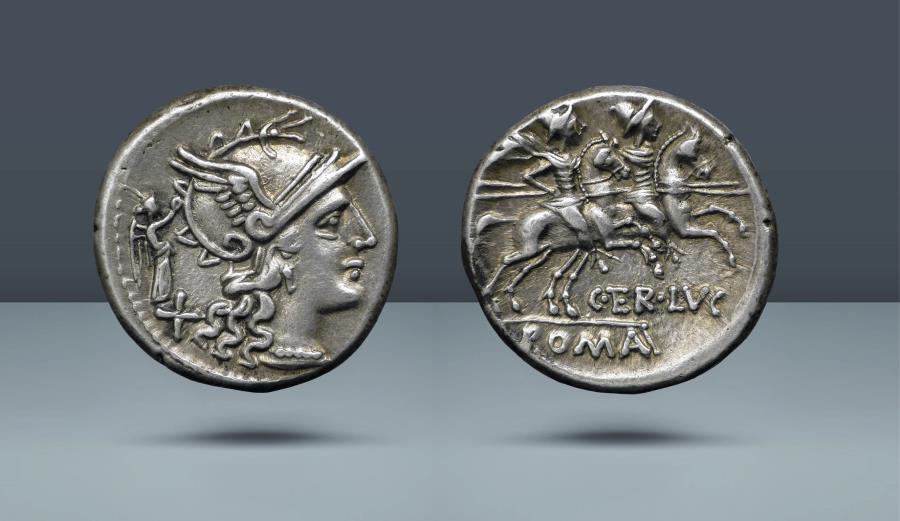 Ancient Coins - ROMAN REPUBLIC. C. Ter. Lucanus. Rome, c. 147 BC. AR Denarius