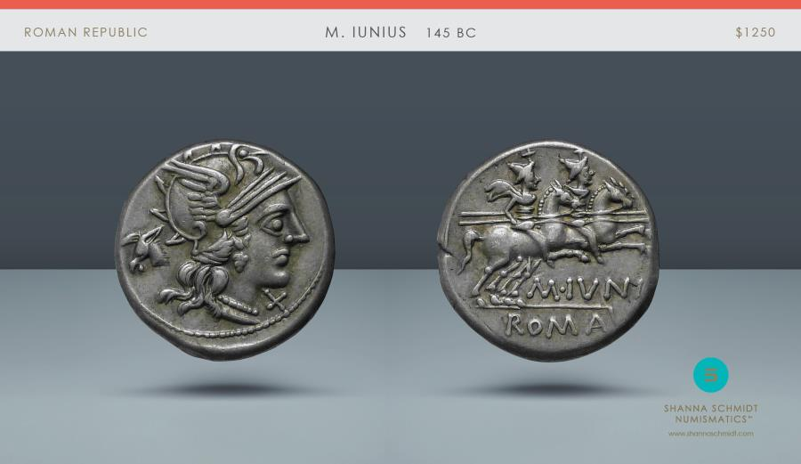 Ancient Coins - ROMAN REPUBLIC. M. Iunius. Rome, 145 BC. AR Denarius. Ex NAC 73, 18 November 2013, lot 54. Privately purchased from Spink & Son in December 1969