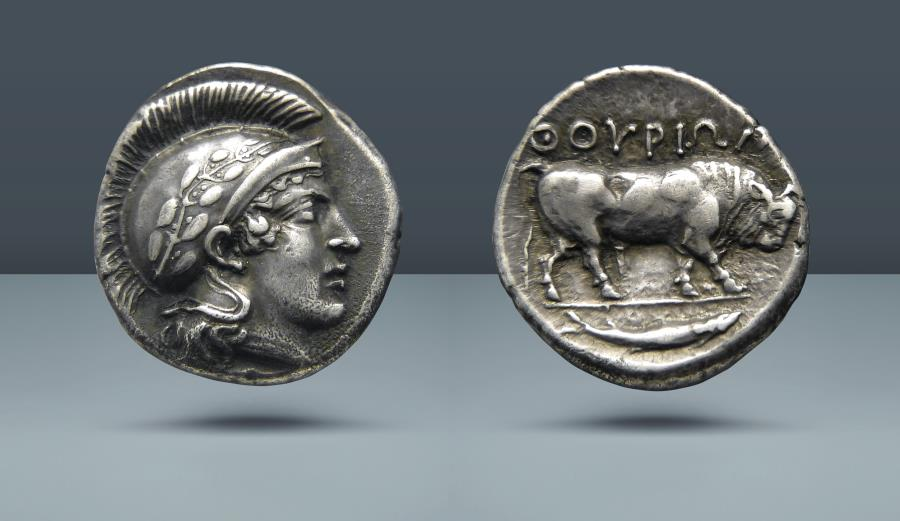 Ancient Coins - LUCANIA, Thurium. c. 425-400 BC. AR Stater. From the Collection of Sir Guy Laking. Ex Naville VI, 23 June 1924, Lucerne, Switzerland, lot 218 (Clarence Bement Collection)