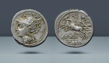 Ancient Coins - ROMAN REPUBLIC. C. Coelius Caldus. Rome, 104 BC. AR Denarius