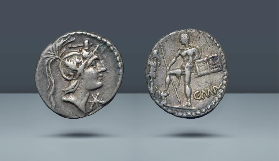 Ancient Coins - ROMAN REPUBLIC. C. Malleolus, A. Albinus Sp.f., and L. Caecilius Metellus. Rome, 96 BC(?). AR Denarius. Ex Leo Benz Collection, Lanz, 23 Nov 1998, lot 566