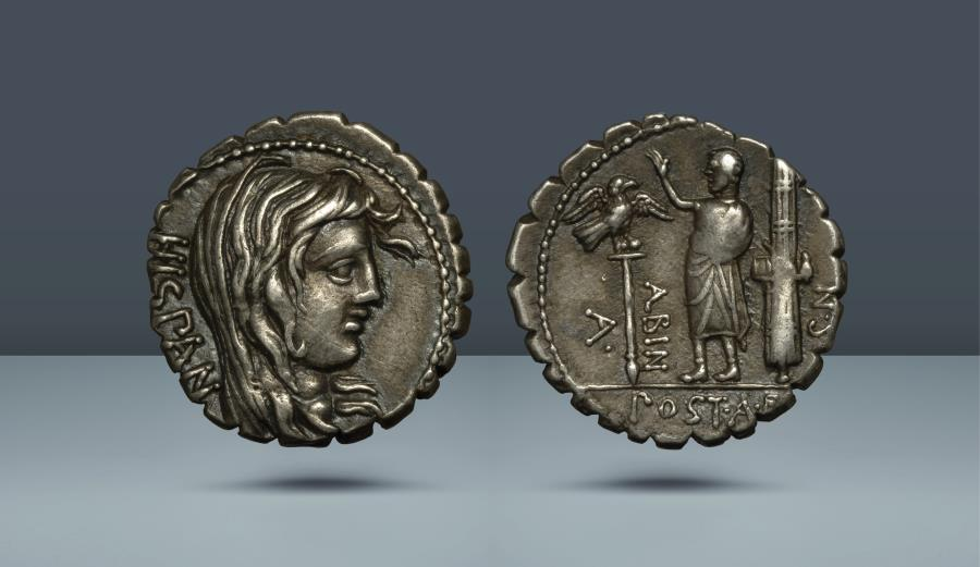 Ancient Coins - ROMAN REPUBLIC. A. Postumius Albinus. Rome, 81 BC. AR Denarius. Ex Frank Sternberg 2000 (35) lot 390; former Clarence Sweet Bement (1843-1923) collection, Naville 1924 (8) lot 303