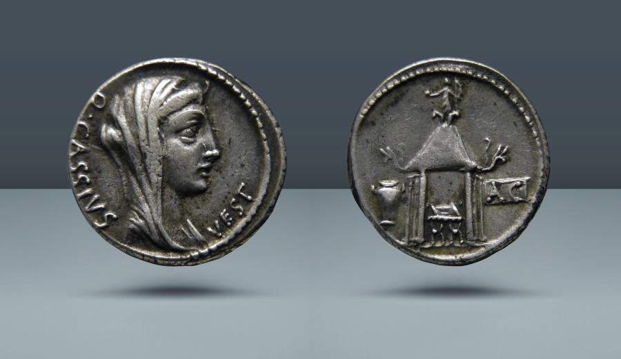 Ancient Coins - ROMAN REPUBLIC. Q. Cassius Longinus. Rome, c. 55 BC. AR Denarius. From the E.E. Clain Stefanelli Collection