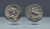 Ancient Coins - ROMAN REPUBLIC. M. Sergius Silus. Rome, c. 116/5 BC. AR Denarius. Comes with export license from Italy