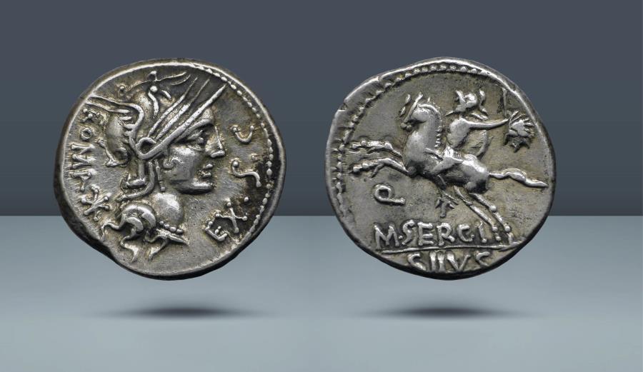 Ancient Coins - ROMAN REPUBLIC. M. Sergius Silus. Rome, c. 116/5 BC. AR Denarius. Comes with export license from Italy