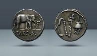 Ancient Coins - Roman Imperatorial. Julius Caesar, Moving Mint. 49-48 BC. AR Denarius