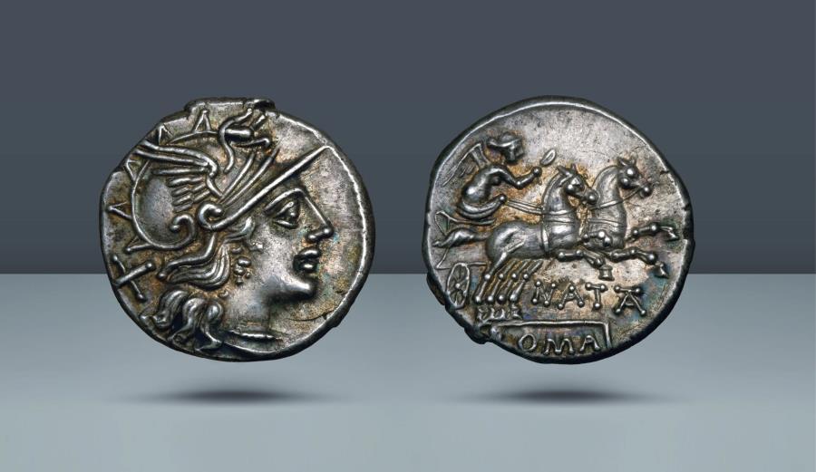 Ancient Coins - ROMA REPUBLIC. Pinarius Natta. c. 149 BC. AR Denarius. Ex Elsen 26, 12 Sept 1992, lot 597