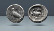Ancient Coins - SICILY, Akragas. c. 490-483 BC. AR Didrachm w/ Bird Symbol