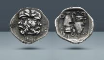 Ancient Coins - THRACE, Thasos. c. 404 BC. AR Diobol. Purchased from Nomos AG in January, 1973