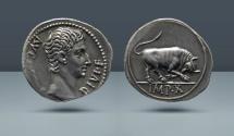Ancient Coins - Augustus, 27 BC -14 AD. Lugdunum (Lyon) Mint, c. 15 BC. AR Denarius