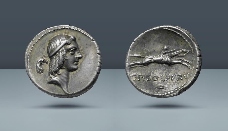 Ancient Coins - ROMAN REPUBLIC. C. Calpurnius L.f. Frugi. Rome, 67 BC. AR Denarius. Ex Galerie des Monnaies Geneva sale November 1976, 33
