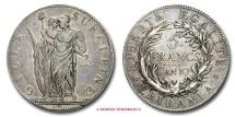Subalpine Republic 5 FRANCS AN 10 (1801) Turin SILVER RARE (R) italian coin