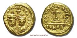 Ancient Coins - Heraclius and Heraclius Constantine Solidus 620-621 AD VICTORIA AVCC#Q# / CONOB Carthage GOLD Byzantine coin for sale