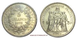 World Coins - French Third Republic 5 FRANCS 1875 A Hercule Paris SILVER 62/70 French coin for sale